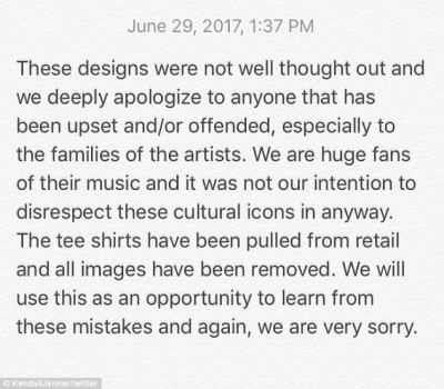 They feel bad:Kendall and Kylie Jenner have sent out an apology after placing their images on top of vintage T-shirts featuring musical giants to sell on kendall-kylie.com for $125 a pop