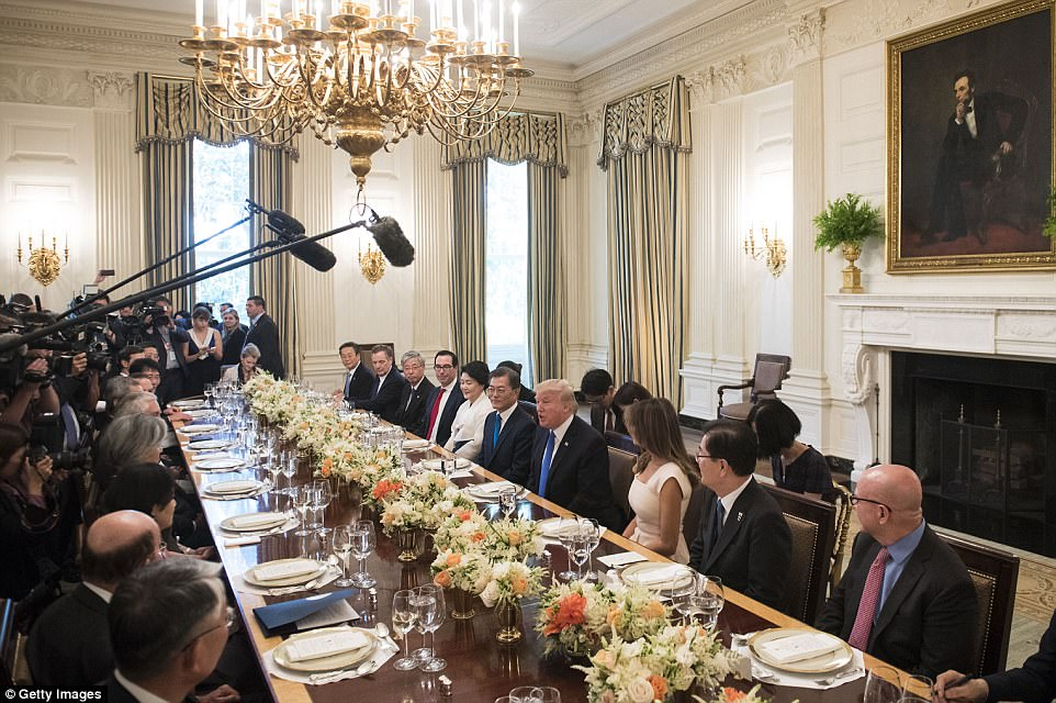 The two couples were joined by a host of other dignitaries and a pack of media before the state dinner
