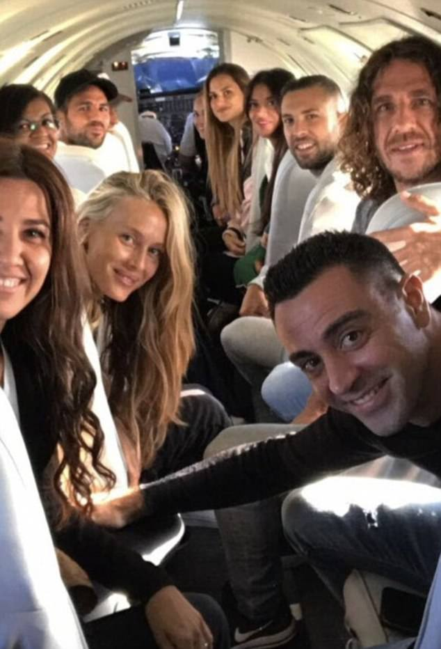 More than 250 friends and family - including footballers Xavi, Cesc Fabregas and Carlos Puyol above - have jetted to Argentina, cars are waiting at the airport to whisk them to the venue while the bride's dress arrived from Spain by private jet accompanied by two bodyguards