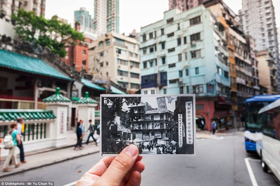 Hollywood Road, seen here today, is the home of Man Mo Temple (left) which was built in 1847 to pay tribute to the God of Literature