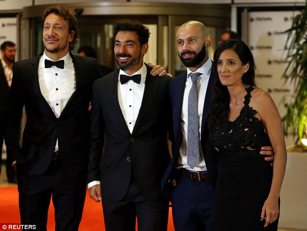 Javier Mascherano (right) with wife Fernanda, Lavezzi (centre) and actor Nicolas Vazquez