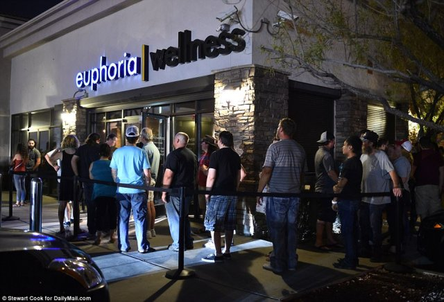 More than 500 people lined up outside the Euphoria Wellness dispensary in Enterprise, on the outskirts of Las Vegas, and cheers erupted as the doors opened