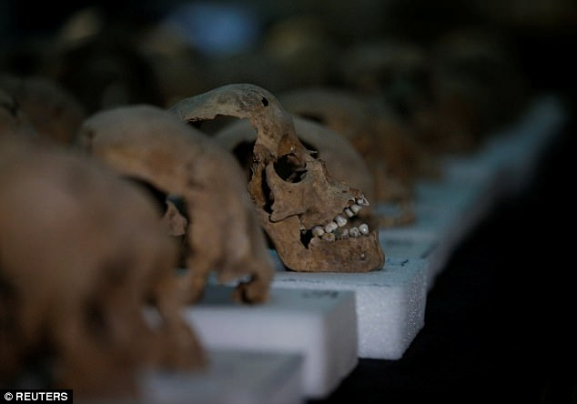 The skulls are believed to be part of an edifice of tens of thousands of them, 676 have been found so far