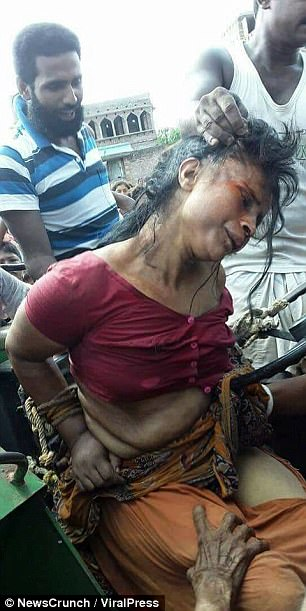 Locals ripped off her clothes and shaved her head as they 'beat her mercilessly'', according to witnesses in the Mithipur-Panagarh village