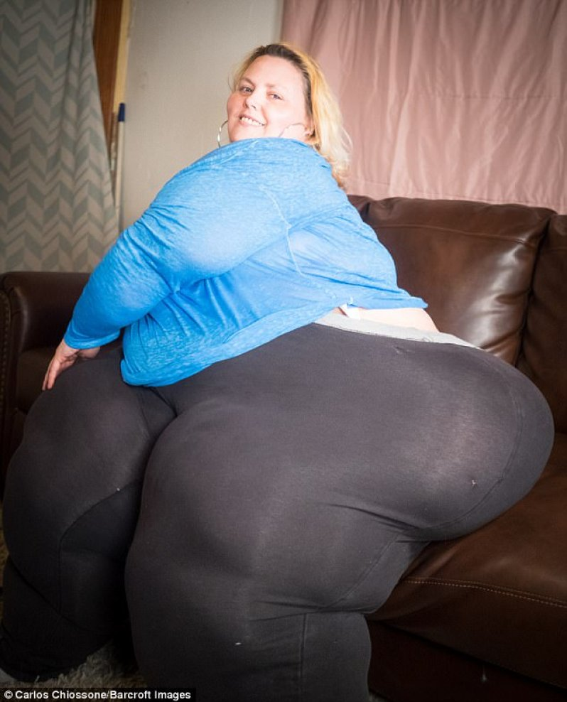 Bobbi-Jo Westley, 43, from Pennsylvania, weighs in at 542lbs and currently has 95 inch hips but says she wants to grow even bigger so she can lay claim to the title of having the world's largest hips