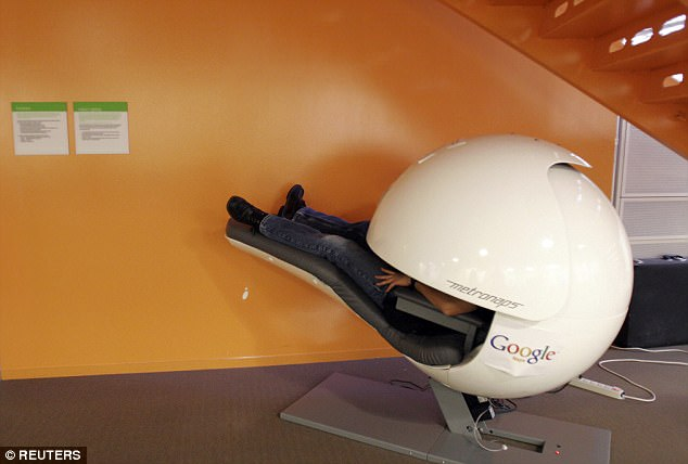 Many of the company's existing offices have nap rooms, fitted with airtight door locks — the sort found on submarines — to keep them sound and light-proof. Pictured: A futuristic sleep pod at Google's Mountain View HQ