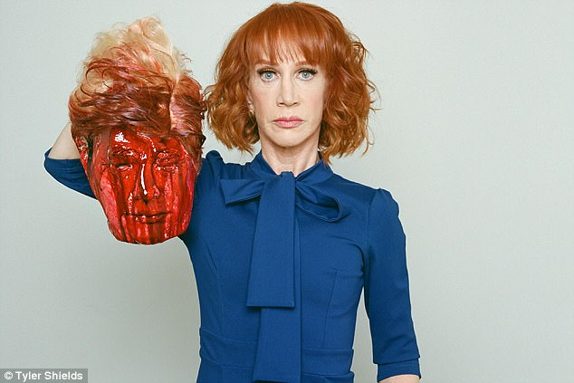 Griffin tearfully apologized last month for posing with a fake bloodied and severed head depicting Trump, saying that she felt her career was now over and that Trump 'broke' her