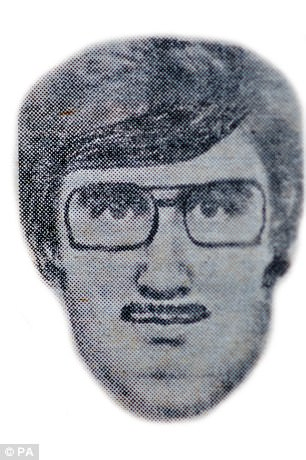 Above is the black-and-white e-fit handout issued from 1982 of the man who raped Mrs Clark