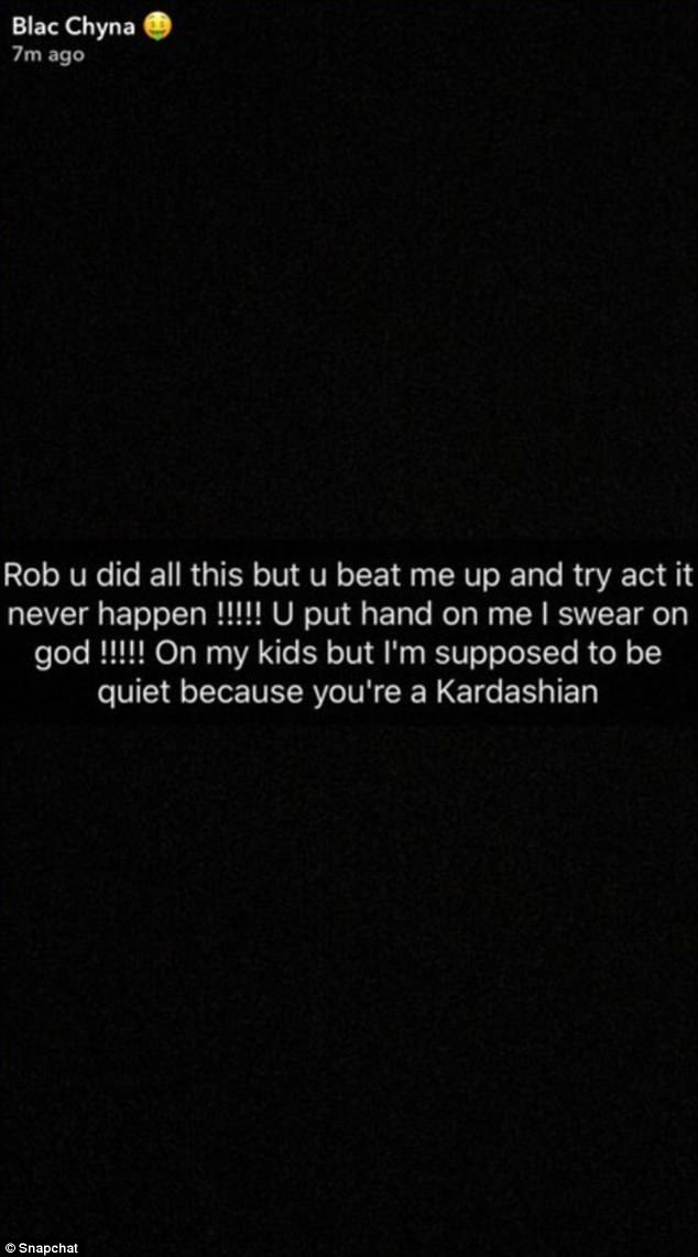 In a since-deleted Snapchat post, Chyna claimed that Rob had beat her up