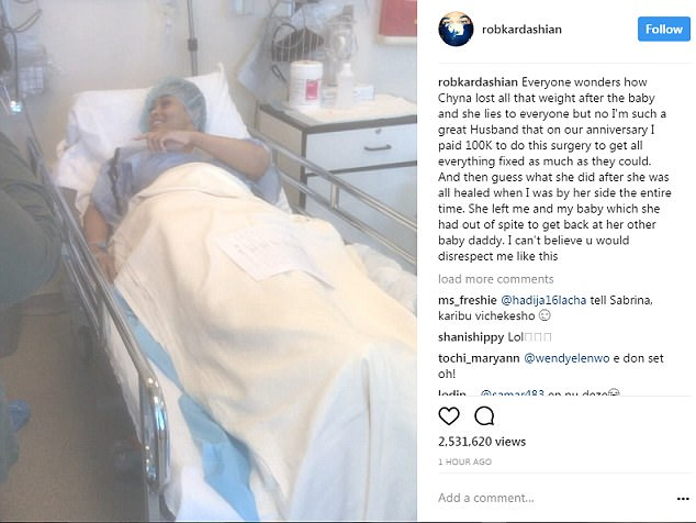 Post 6: Rob said that he paid for Chyna to have plastic surgery after she gave birth to their daughter
