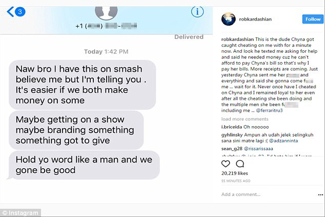 Post 2: Rob then shared a series of texts he had received from a rapper named Rarri True, who he said was the man in the video