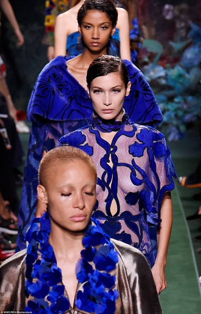 Beautiful in blue: Electric blue was a recurring colour in Fendi boss Karl Lagerfeld's new haute couture collection