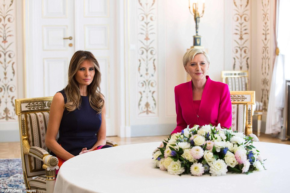 Meanwhile, First Lady Melania Trump met with Poland's First Lady,Agata Kornhauser-Duda at the Belvedere Palace in Warsaw