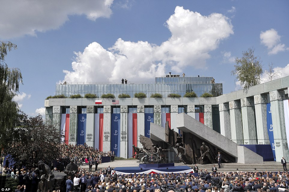 Trump spoke from Krasinski Square, the site of a monument commemorating the 1944 Warsaw Uprising against the Nazis