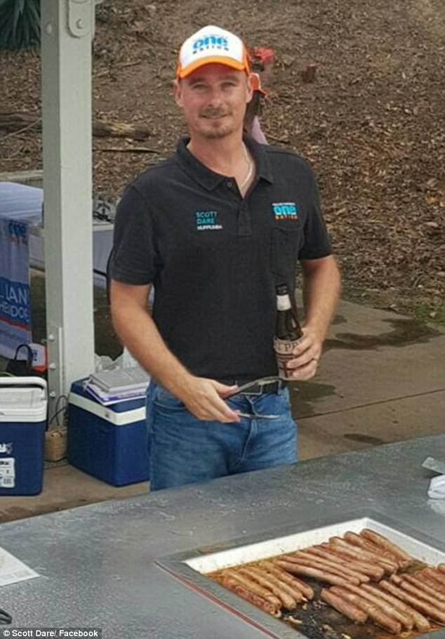 Scott Dare, One Nation candidate for Murrumba in Queensland, has been slammed after appearing to joke with a voter about making an insect spray to 'rid Australia' of Muslims