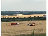 Witnesses described the plane wobbling in the air before making a 'loud bang' as it landed in a field