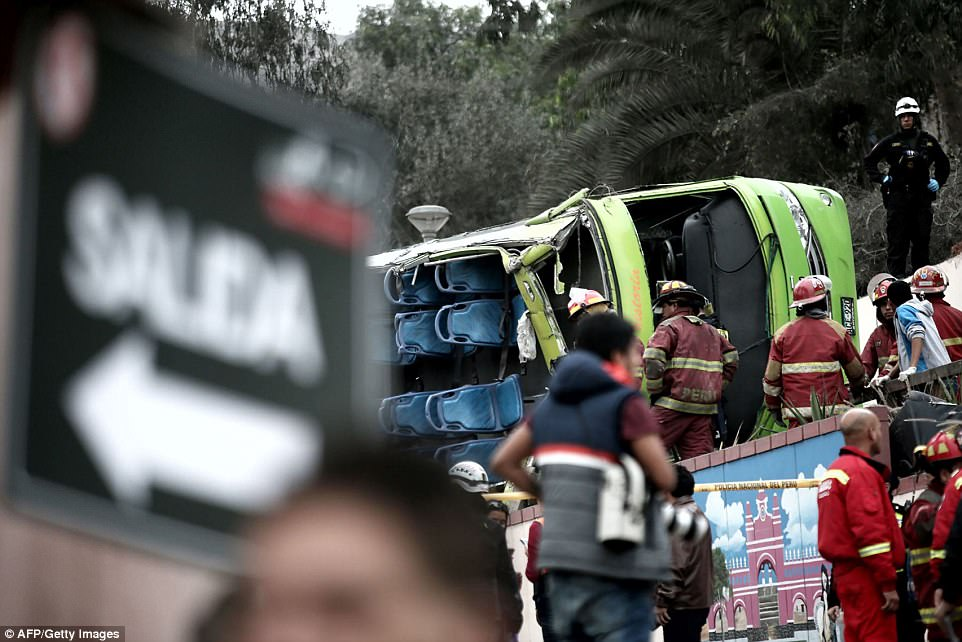 At least nine people have been killed in the accident after the bus rolled down the hillside near the presidential palace