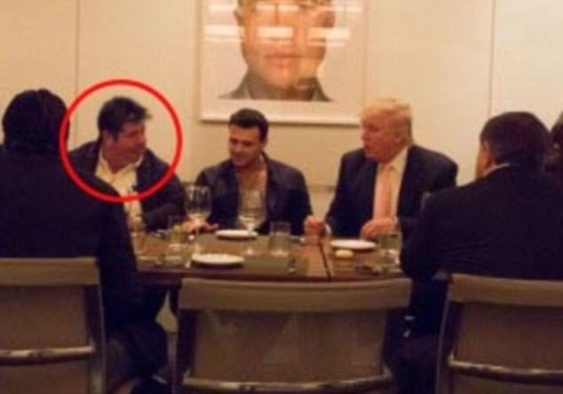 Rob Goldstone (left) is pictured during a meeting with Donald Trump (right) in Las Vegas in 2013. An email from him reportedly alerted Trump Jr to Russia's role in the Clinton 'dirt'