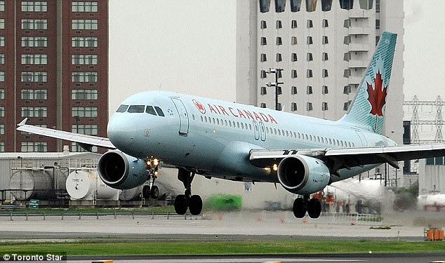 Scary: The Air Canada plane was an Airbus A320 (pictured, at a Toronto airport) which can contain as many as 220 people. It's unclear what the others were, but they were reportedly all 'wide body' planes with two aisles, capable of containing as many as 480 people each