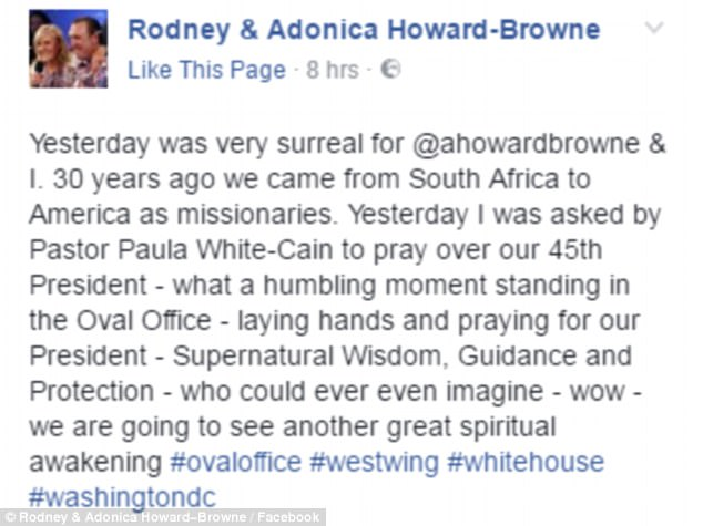 Mr Howard-Browne, who came from South Africa to America in 1987 after a 'calling from God', called the moment 'surreal' and 'humbling'
