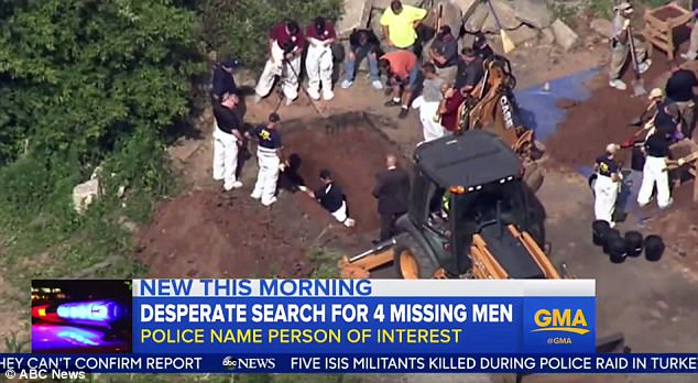 Police used diggers and metal detectors to search a 90-acre farm in Solebury, Pennsylvania, on Wednesday in the hunt for four young men who have been missing since last week