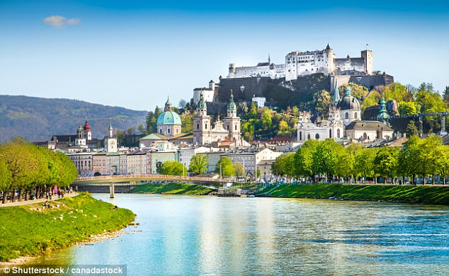 City break: For those looking for a quick night away, a flight from Munich, Germany to Salzburg, Austria (pictured) is just 48 euros - or about £42