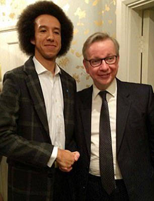 Pictured: Calvin Robinson and former education secretary Michael Gove