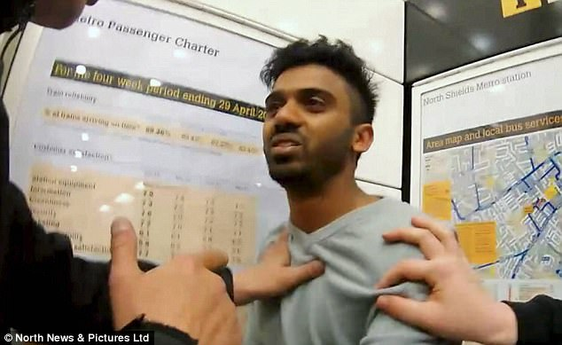 Pictured: Prasad was confronted by the group with a camera, after arranging to meet the girl at North Shields Metro Station