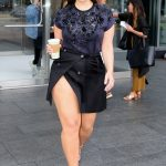 Ashley Graham Step Out In Thigh High Slit Mini Skirt