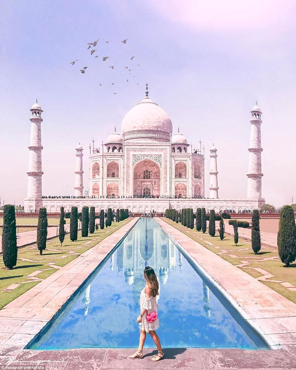 Another image that raised questions was this one, of her in front of the Taj Mahal. Among the issues commenters had were missing crowds, the absence of scaffolding and the fact her shadow stopped at the edge of the water