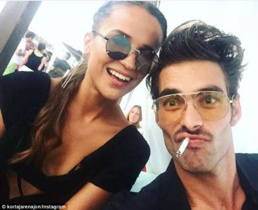 Cute: He shared a smiling selfie with Alicia and paid tribute to her in the caption, gushing: 'Some people make you trust in humanity, and Alicia Vikander is one of them'