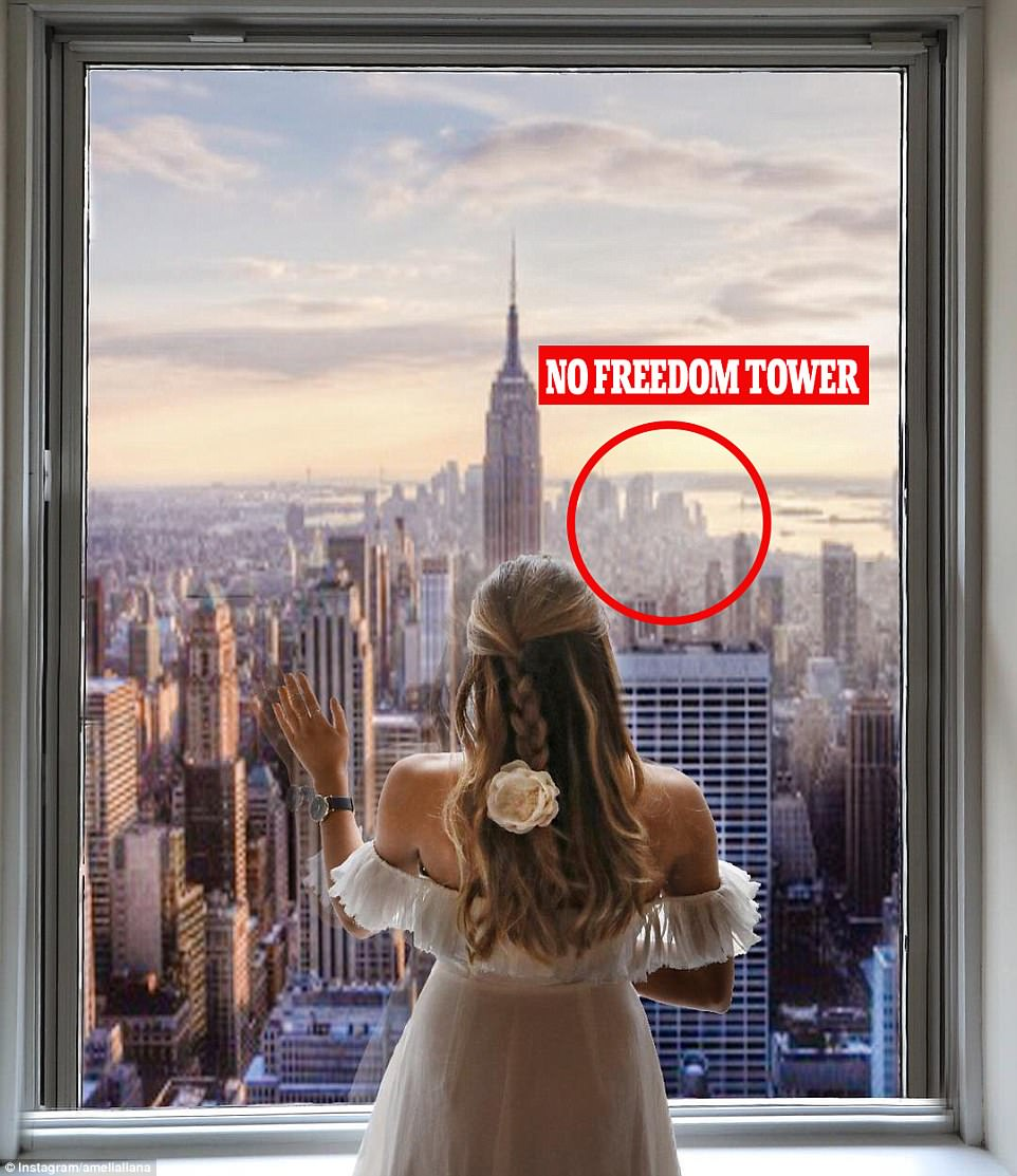 Eagle-eyed users questioned why New York's Freedom Tower was not included in the image, and analysis by The Times picture desk found the blogger's image had been superimposed over an old image of New York