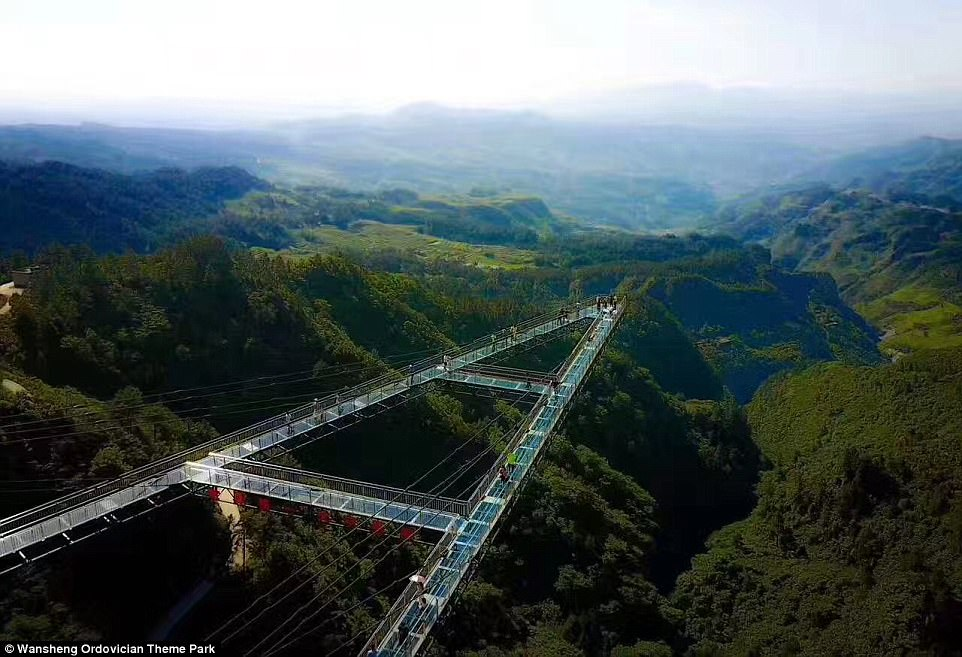 This glass-bottomed walkway is built on the side of a cliff face at a height of 390ft and extends262ft into the air