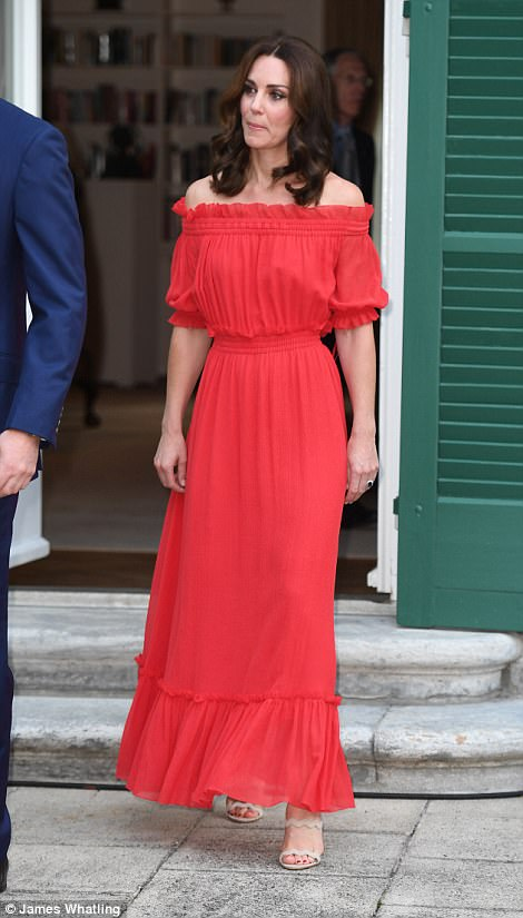 Lady in red: The glamorous royal, who has been dazzling in a series of bespoke frocks this week, opted for a bargain - down from £2,075 to £1,453