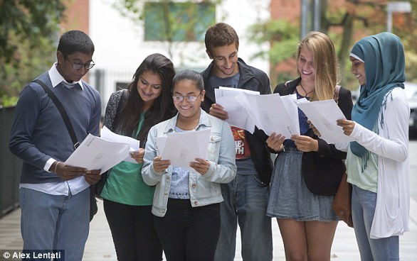 GCSE students celebrate their results at Holland Park School in August 2013