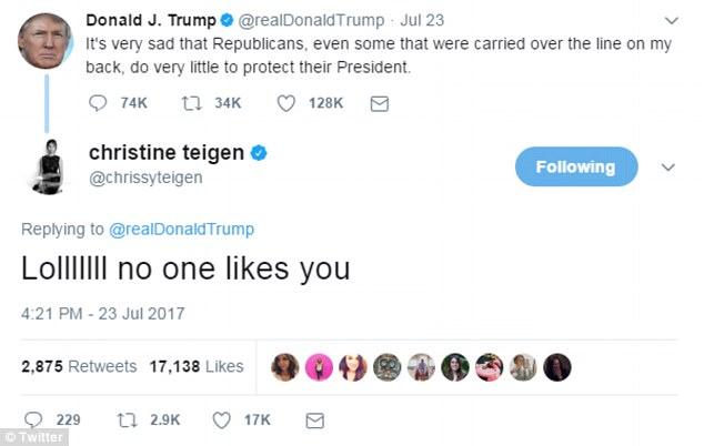President Trump blocks Chrissy Teigen on Twitter  Daily Mail Online