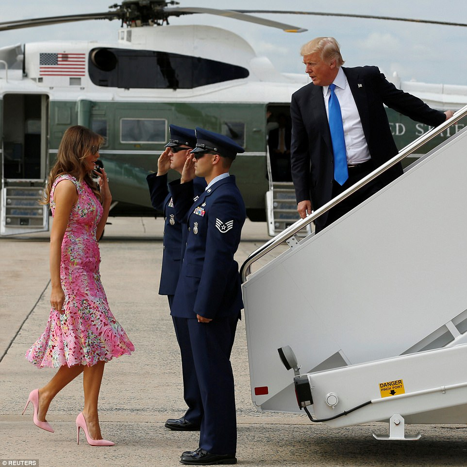 Melania followed her husband, who turned around to make sure she was behind him, while boarding Air Force One