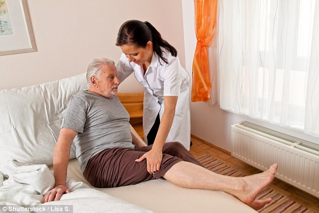 Caroline Abrahams, Age UK's charity director, said the charges were 'stealth taxes' on families, many of whom were being put in 'horrible situations'. Pictured: A stock image of an elderly man being cared for in a home