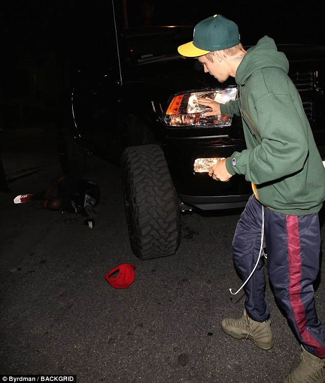 What happened: Bieber had stopped the truck and climbed out of the cab, walking around the front to find the snapper lying on the ground beside it
