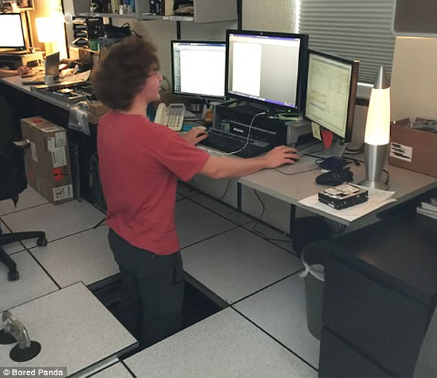 This inventive employee found a rather unorthodox way to fulfill his dream of a standing desk