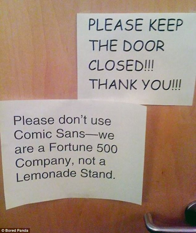 It seems that when it comes to leaving passive aggressive notes only certain fonts will do