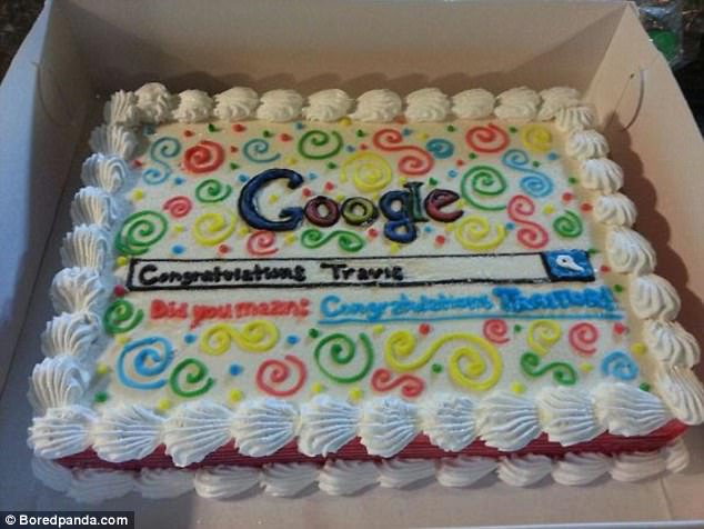 After a friend got a job at Bing.com his co-workers presented him with a Google cake  reading 'Did you mean: Congratulations traitor'