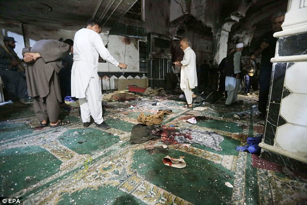 Bloodied clothes covered the floor following the attack on Tuesday, where dozens of people are injured