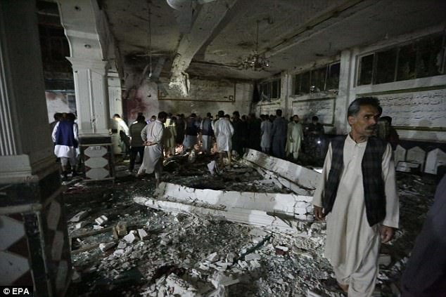 There were approximately 300 people in the mosque for evening prayers when the bomber attached