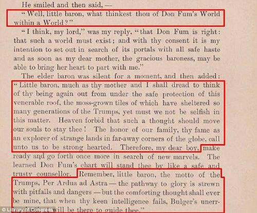 「栄光への道には落とし穴と危険が散らばっています。」 1800年代後半にアメリカの作家インガーソルロックウッドによって書かれたトランプ家のモットー
