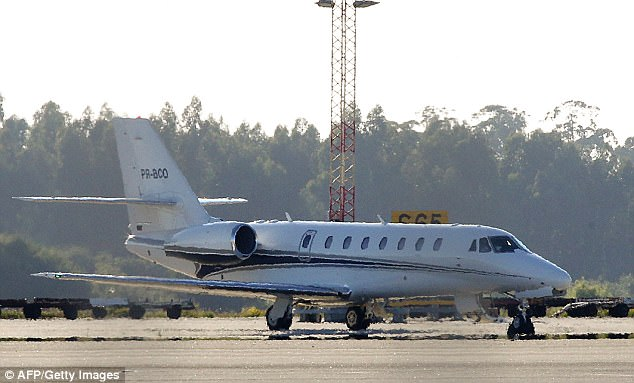 Neymar's private jet is pictured departing the Francisco Sa Carneiro airport in Porto