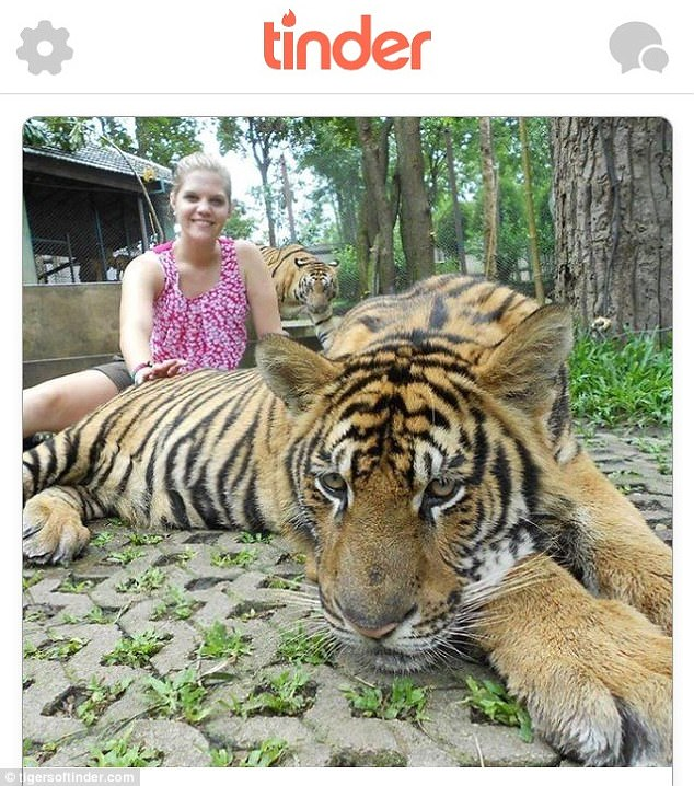 A 22-year-old woman poses with a tiger on the popular dating app, which has asked users to take the pictures down