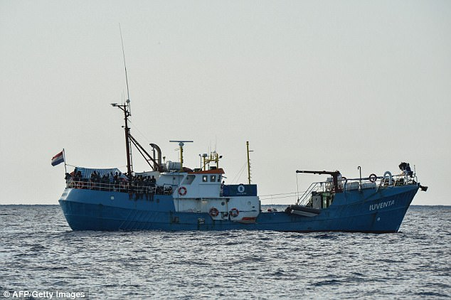 The revelations emerged after investigators took the unprecedented move of impounding German charity Jugend Rettet's vessel, Iuventa (pictured), at Lampedusa on Wednesday