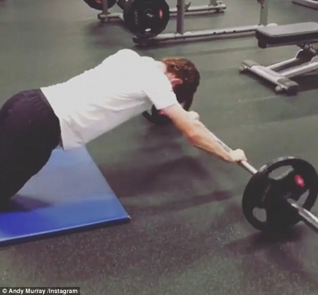 Murray lifted weights with his legs and worked on core strength as he rehabilitates his hip