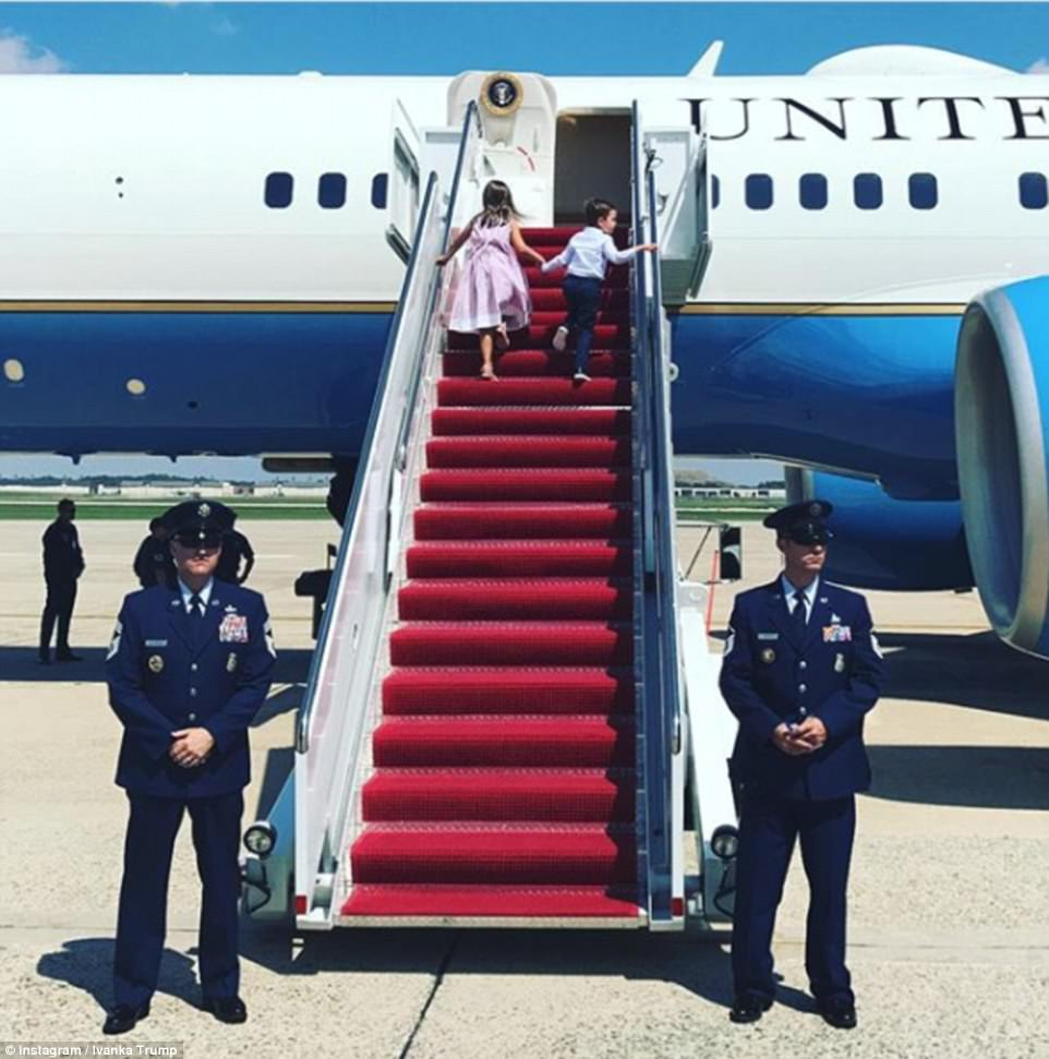 Getaway: Ivanka  took to Instagram on Friday to share a photo of her two eldest children boarding Air Force One atJoint Base Andrews in Maryland